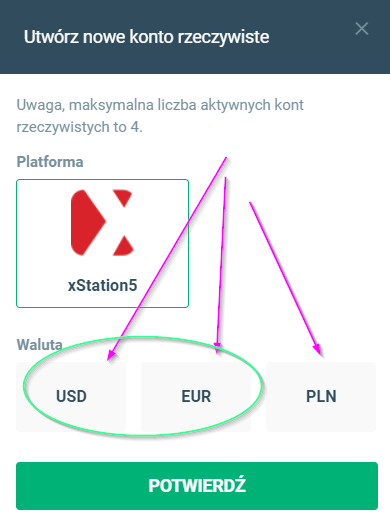 Dodawanie rachunku USD w XTB