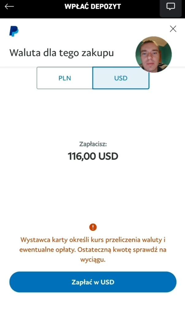 PayPal Zatwierdzenie wyboru waluty USD