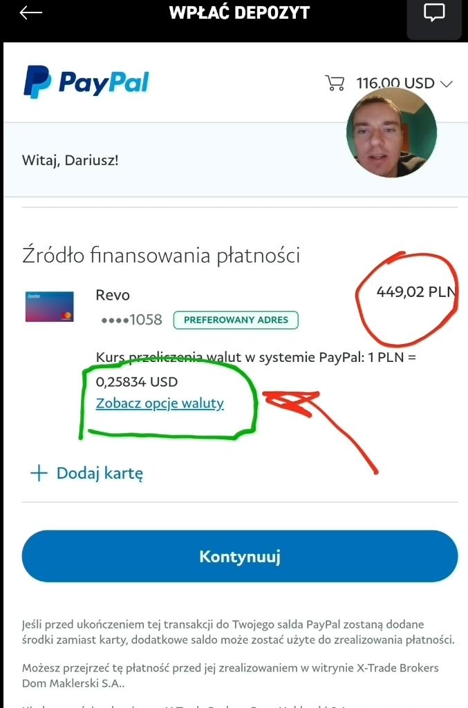Wybór opcji płatności w walucie PayPal