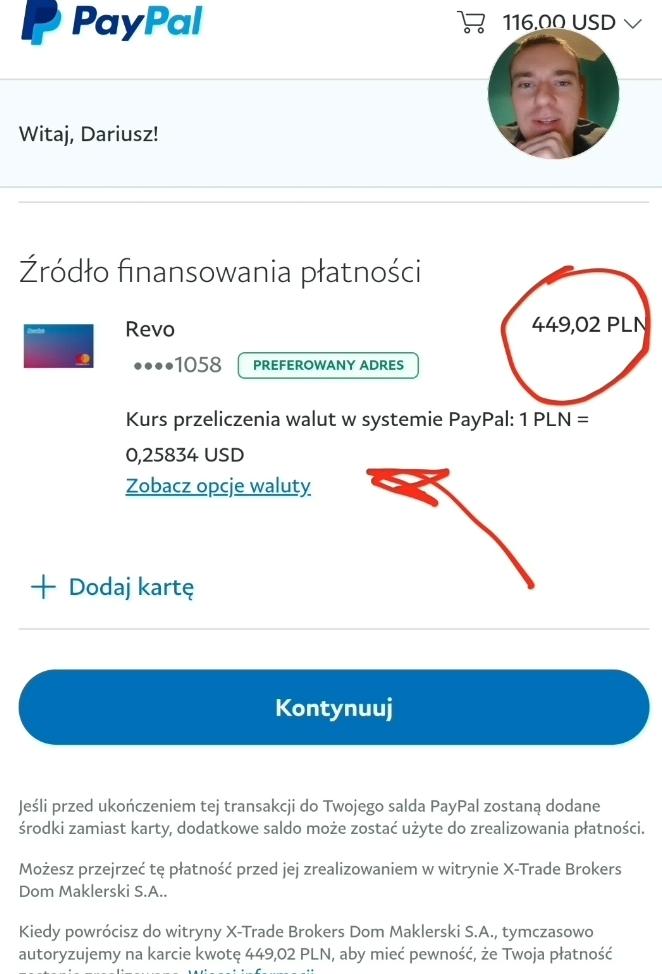 Cena przewalutowania PayPal