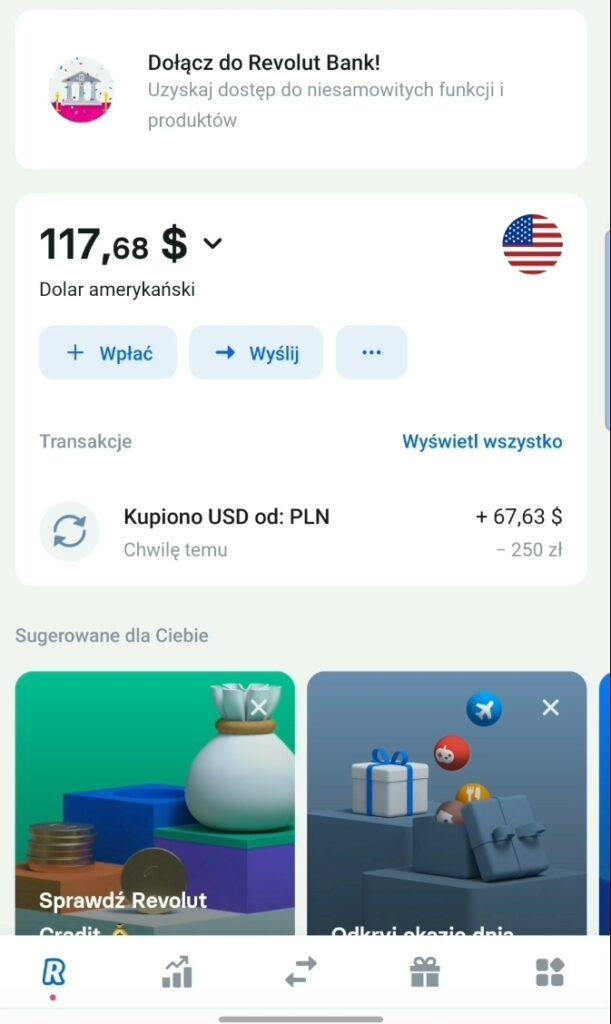 Waluta dostępna na koncie revolut